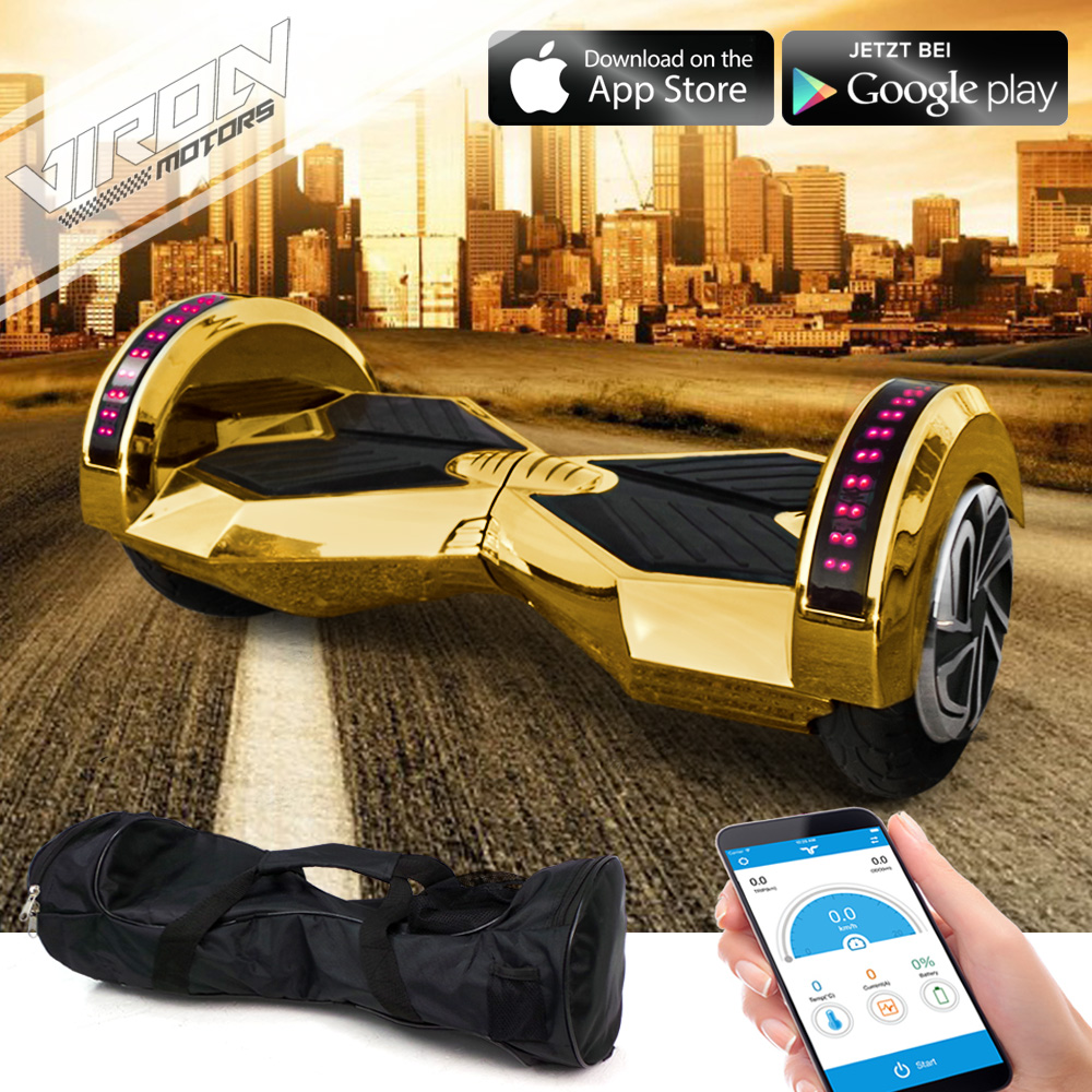 E-Balance Scooter - Weaver Hoverboard Smart Elektro Skateboard Elektroroller Gold Chrome