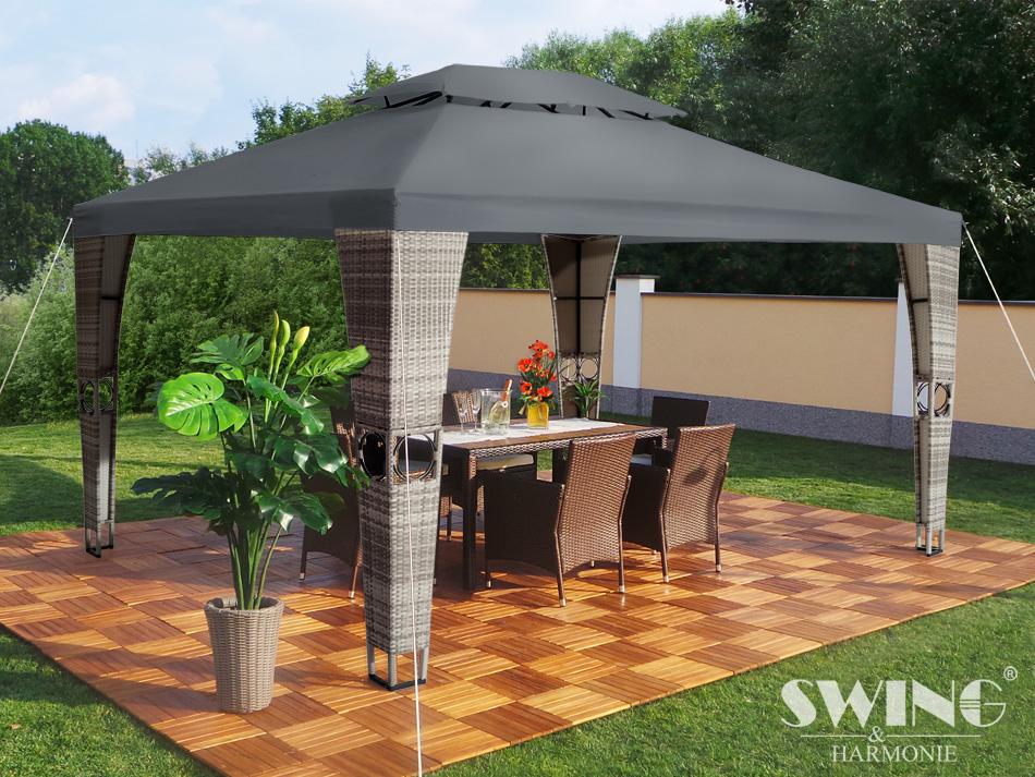 rattan pavillon fehntjer roy 3x4 m grau anthrazit quad online shop quads buggys uvm. Black Bedroom Furniture Sets. Home Design Ideas