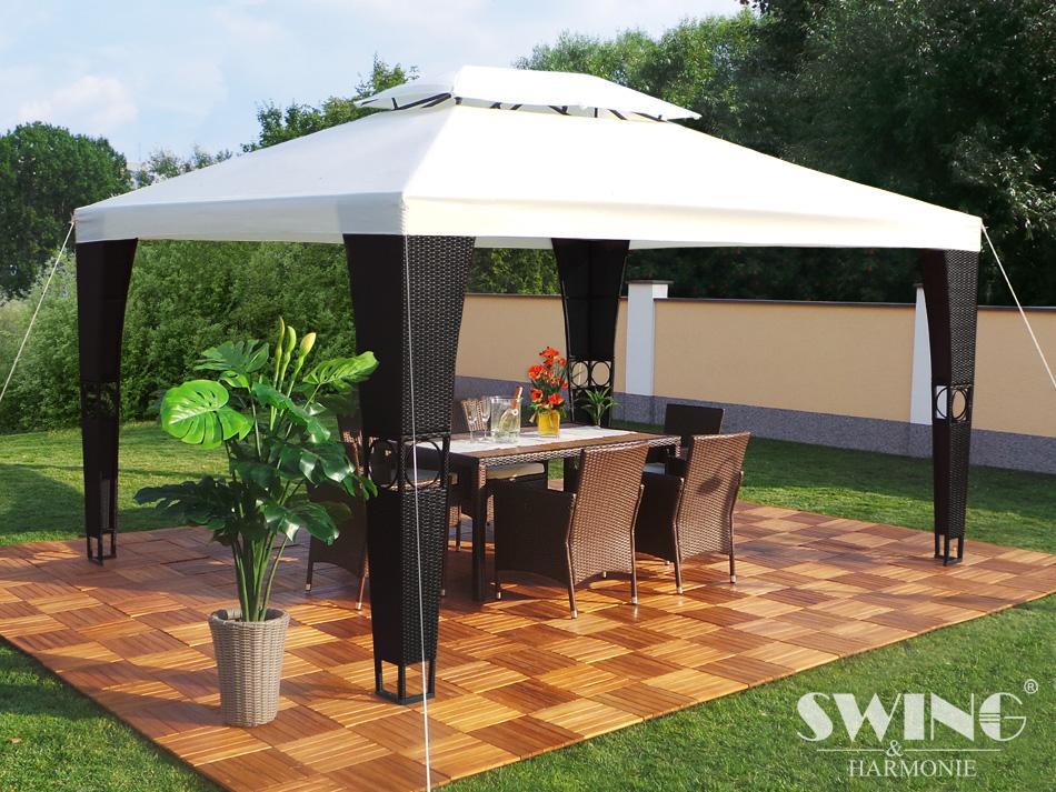 rattan pavillon 3x4m polyrattan garten pavilon gartenm bel pavillion partyzelt ebay. Black Bedroom Furniture Sets. Home Design Ideas