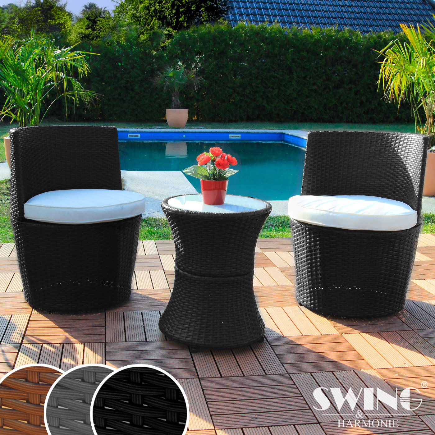 Hofer Vorschau Gartenmobel : Polyrattan Sitzgruppe für Garten, Balkon und Terasse Rattan Möbel