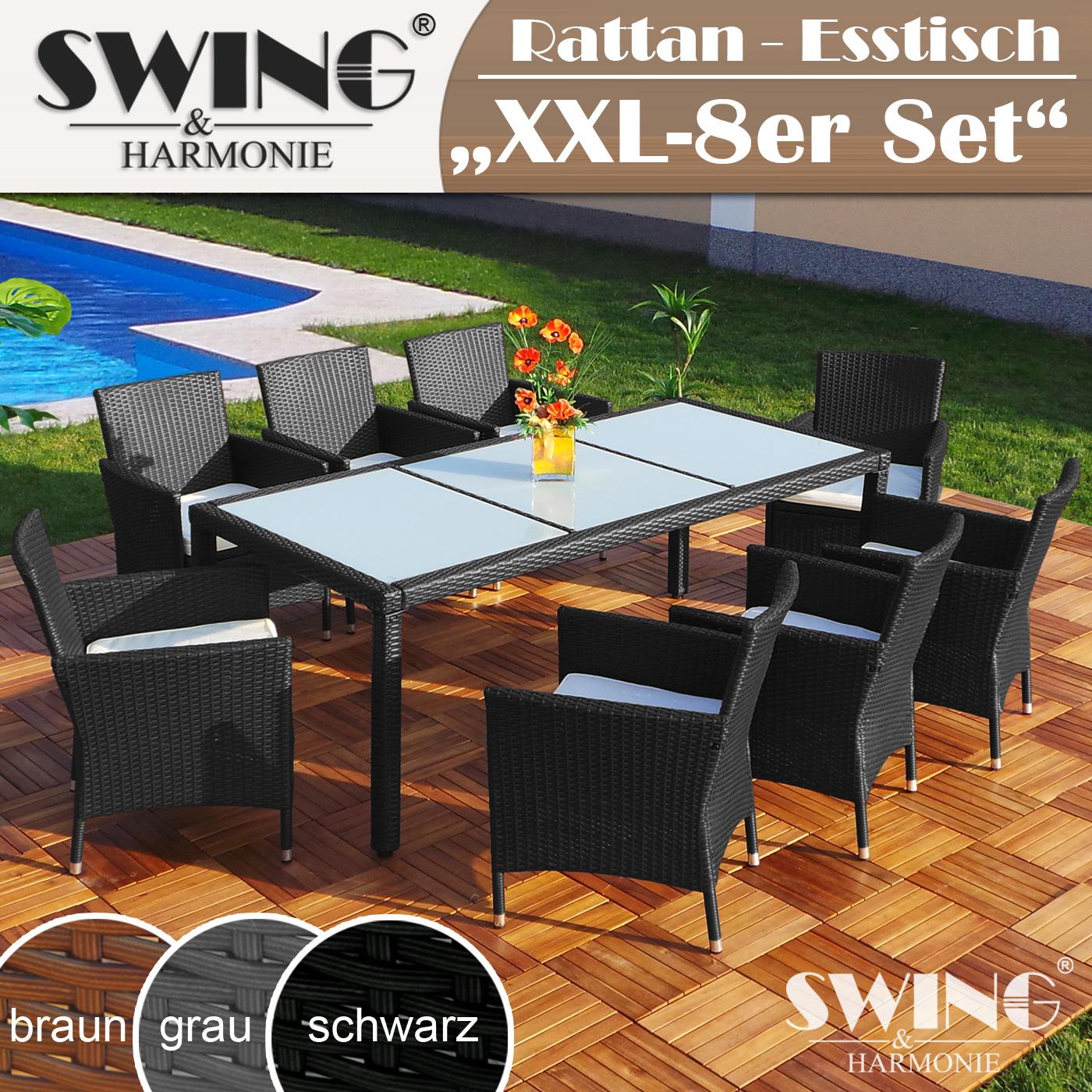 Polyrattan Esstisch + 8 Stühle Rattan Sitzgarnitur Tisch + 8 x Stuhl ...