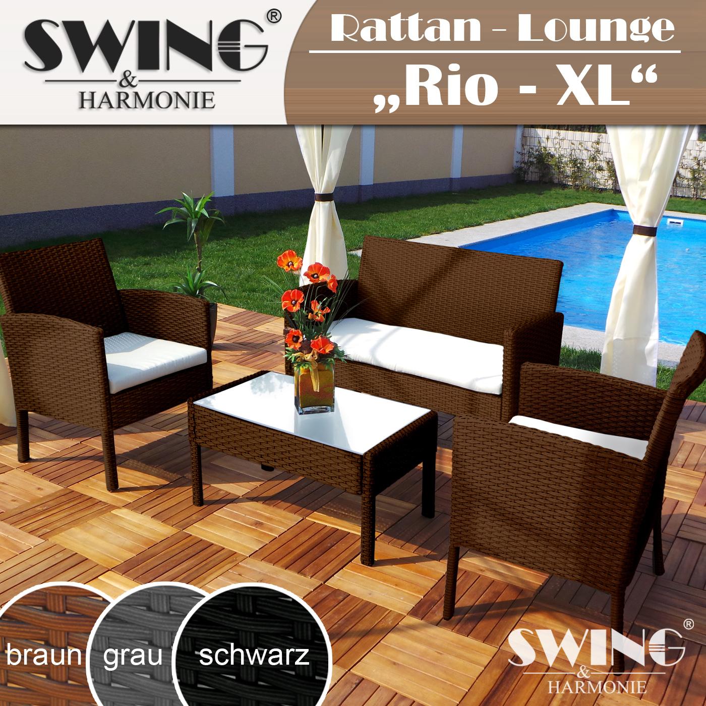 Polyrattan Sitzgruppe Rattan Lounge Sitzgarnitur Tisch ...