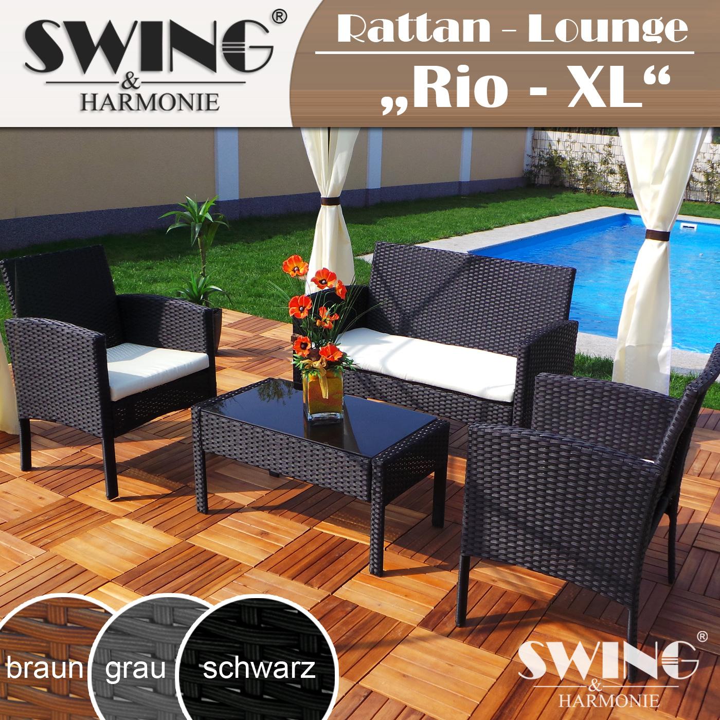 Rattan Lounge Schwarz Grau ~ PolyrattanSitzgarniturRattanLoungeSitzgruppeTischampStuhl [R