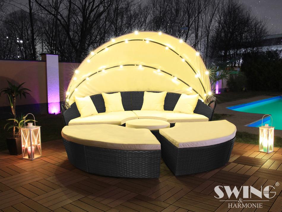 Détails sur DEL de jardin en rotin Salon de jardin chaise poly rotin  banquette chaise longue île- afficher le titre d\'origine