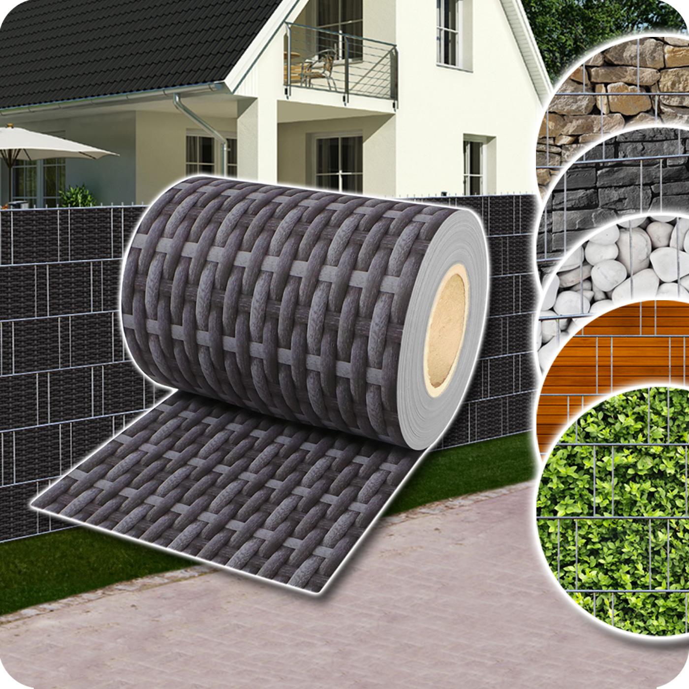 Sichtschutz Rolle PVC Zaunfolie für Doppelstabmatten Zaun Streifen