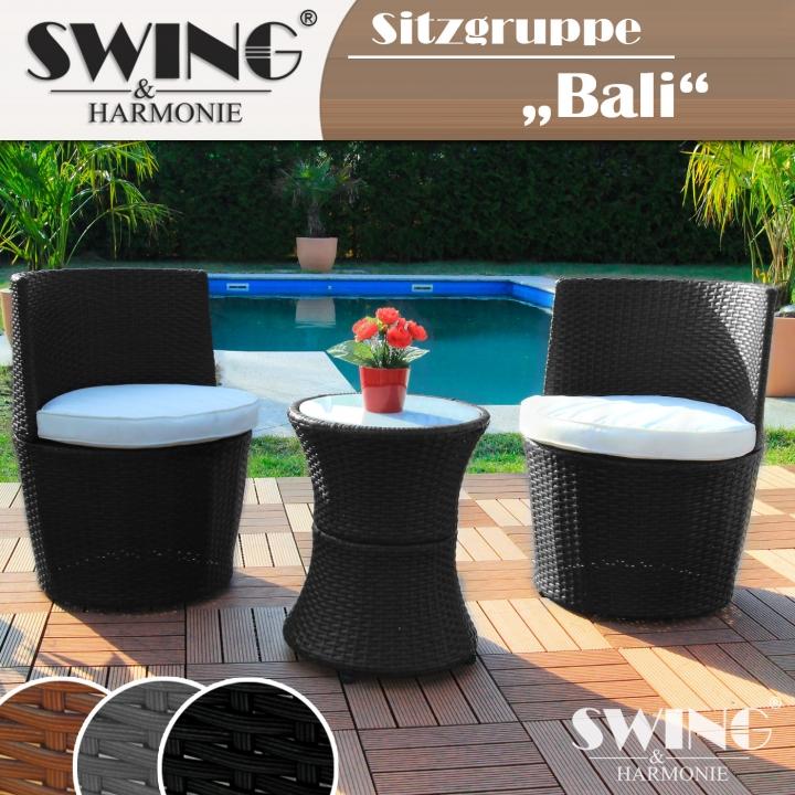 Rattan - Sitzgruppe - Bali - schwarz - EveMotion GmbH